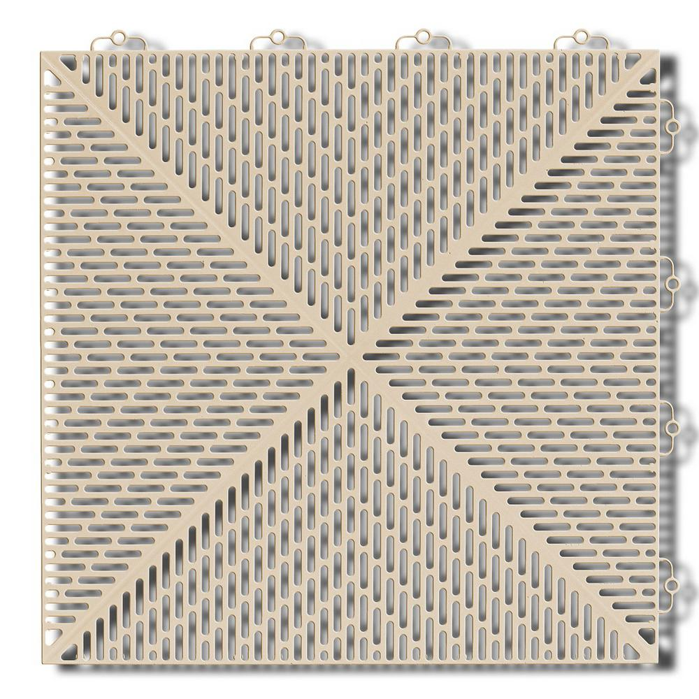 Interlocking Deck Tiles Bergo Soft 1 24 Ft X 1 24 Ft Polyethylene Interlocking Deck Tiles In Sand 35 Per Case 53 8 Sq Ft