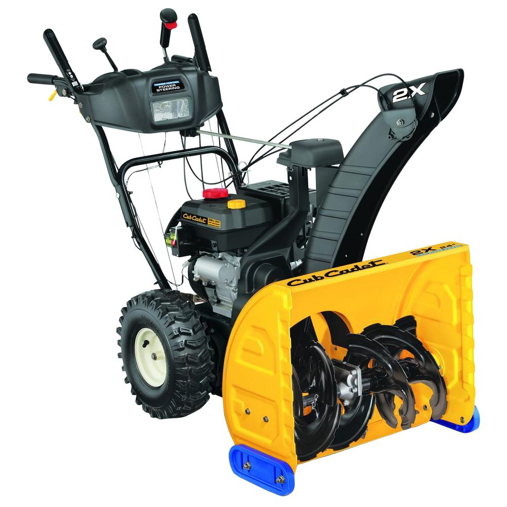 Used Snow Blowers Cub Cadet 24 In 208 Cc Two Stage Gas Snow Blower With Electric Start And Power Steering