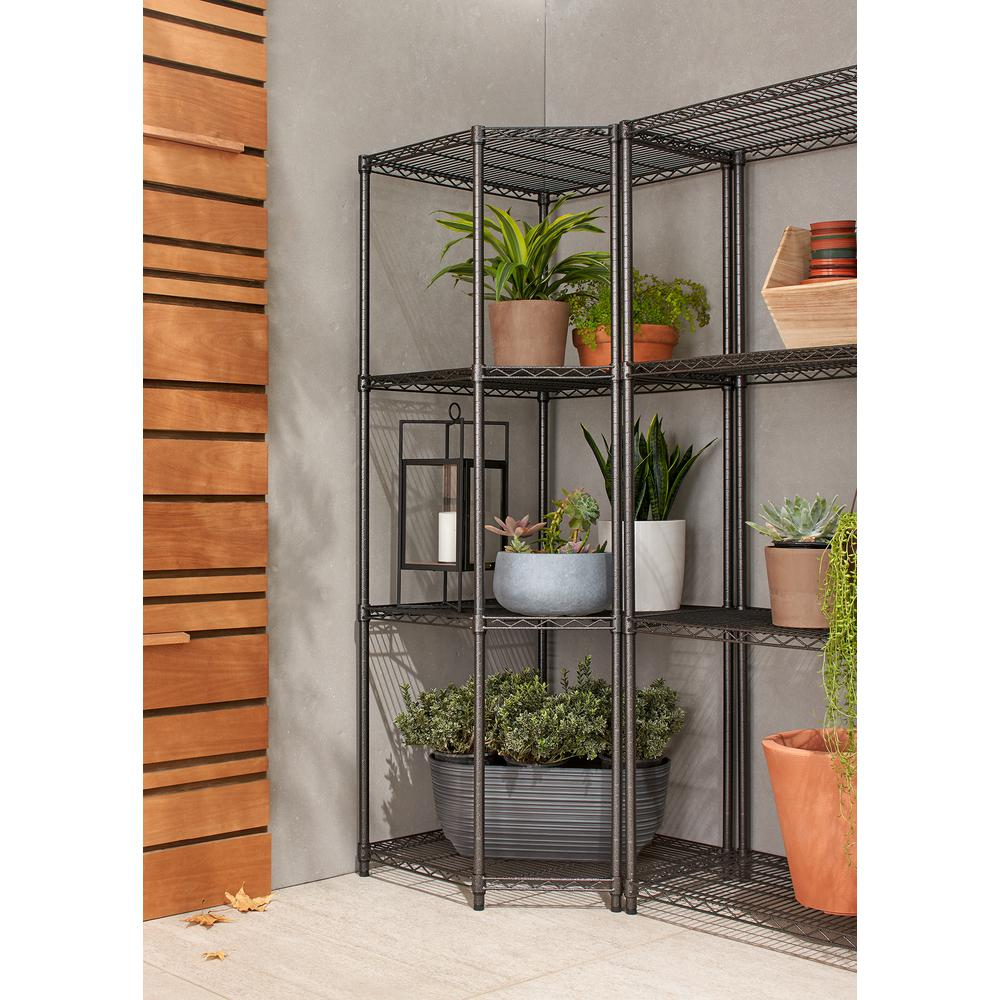 Garage Shelving Units Trinity Pro 18 In X 24 In X 24 In X 72 In Black Anthracite 4 Tier Corner Garage Shelving Unit