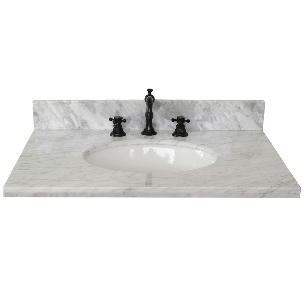 Marble Basin Bellaterra Home Ragusa 31 In W X 22 In D Marble Single Basin Vanity Top In White With White Oval Basin