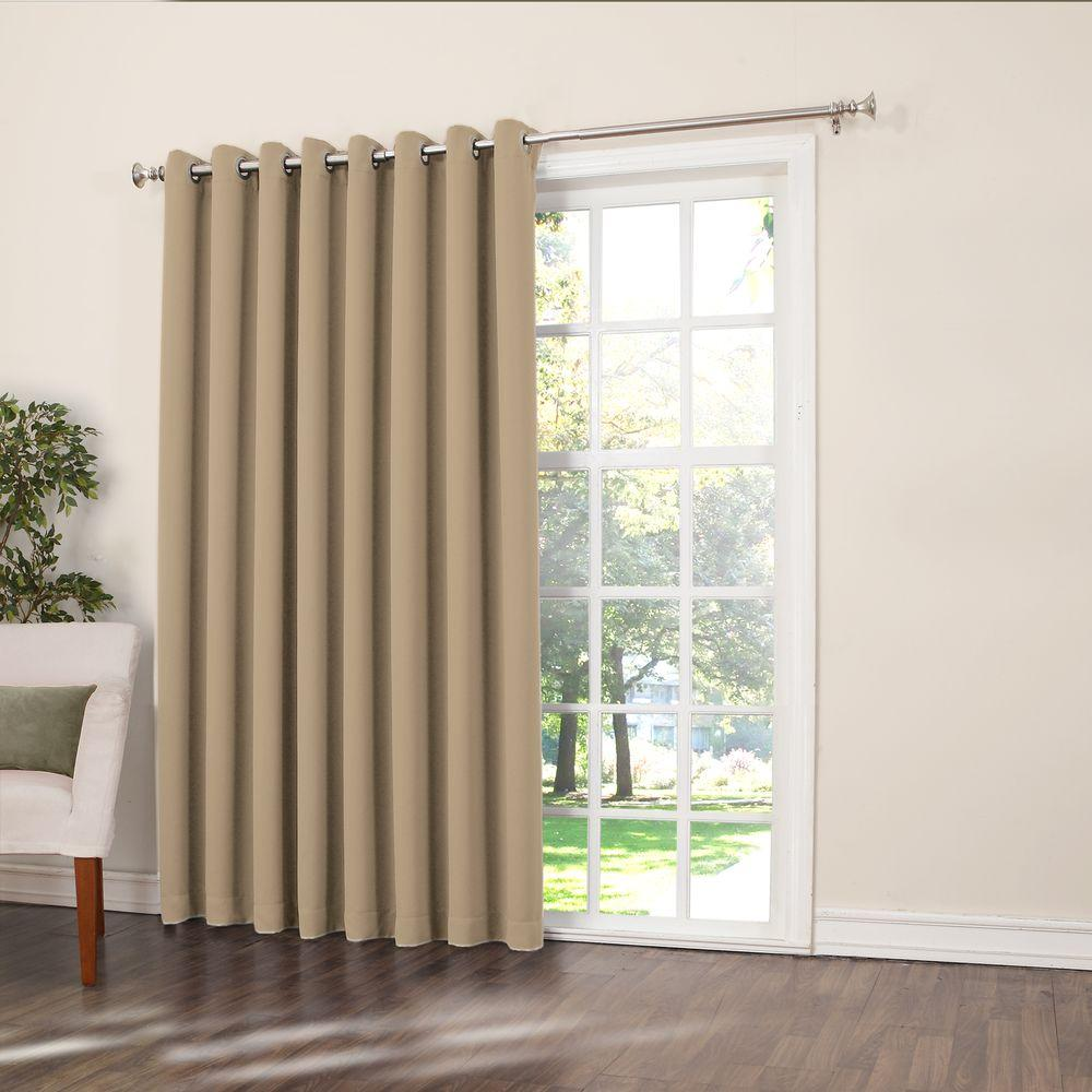 Thermal Patio Door Curtains With Grommets Sun Zero Semi Opaque Taupe Gregory Room Darkening Grommet Top Patio Panel 100 In W X 84 In L