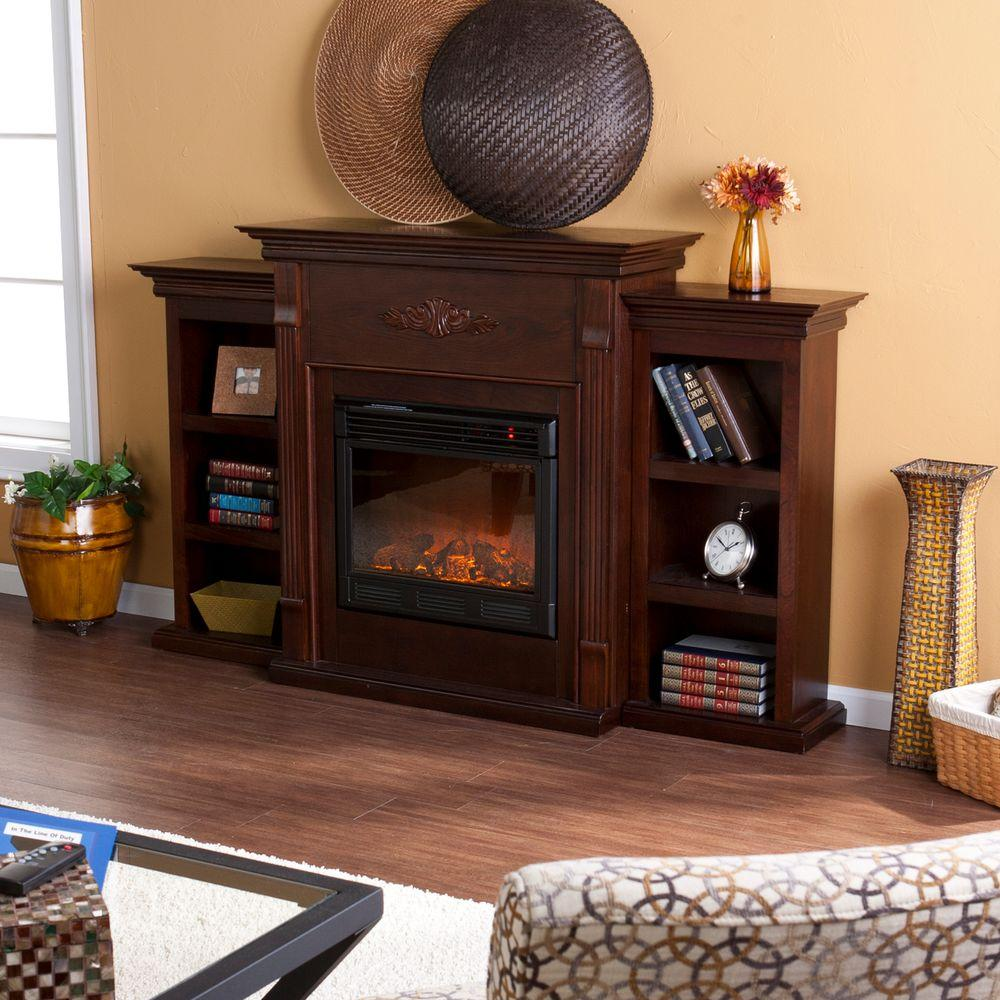 Tennyson Bookcase Electric Fireplace Southern Enterprises Jackson 70 25 In Freestanding Electric Fireplace In Classic Espresso With Bookcases