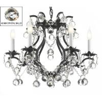 Versailles 6-Light Wrought Iron and Crystal Chandelier in ...