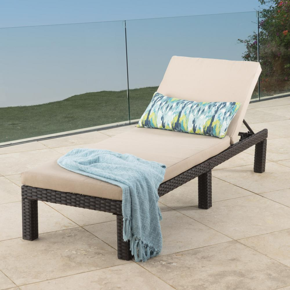 Chaise Style Puerta Dark Brown Wicker Outdoor Chaise Lounge With Beige Cushion