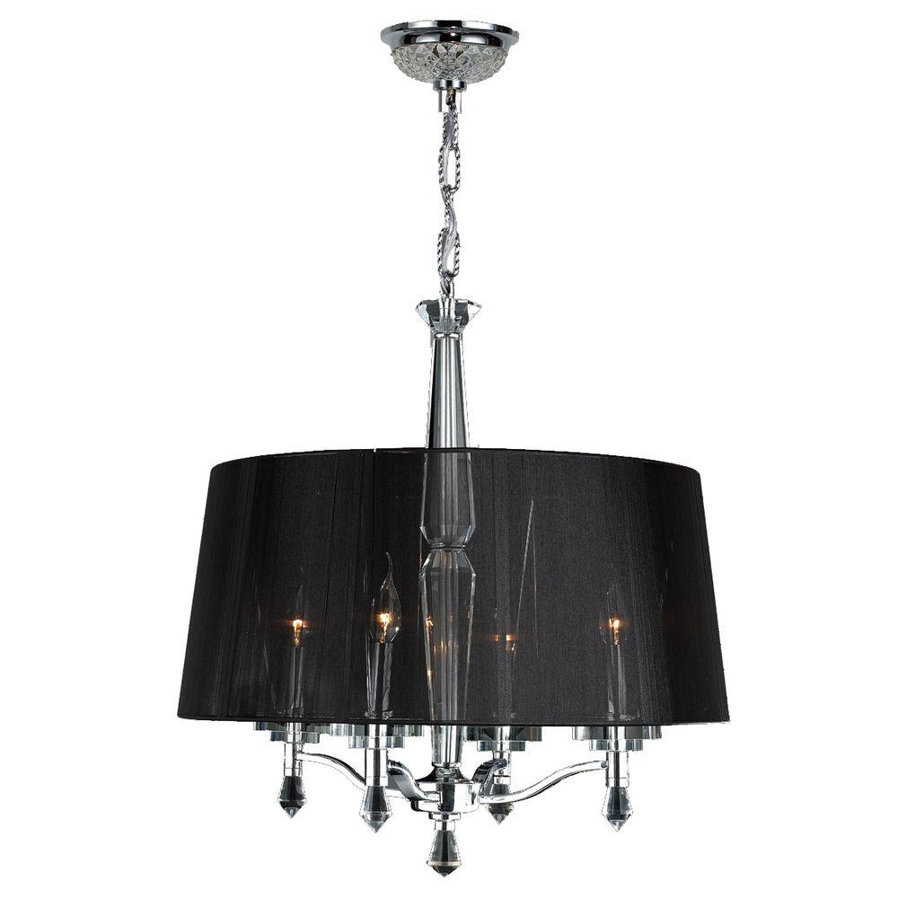Online Lighting Worldwide Lighting Gatsby 3 Light Polished Chrome Crystal Chandelier With Fabric Shade