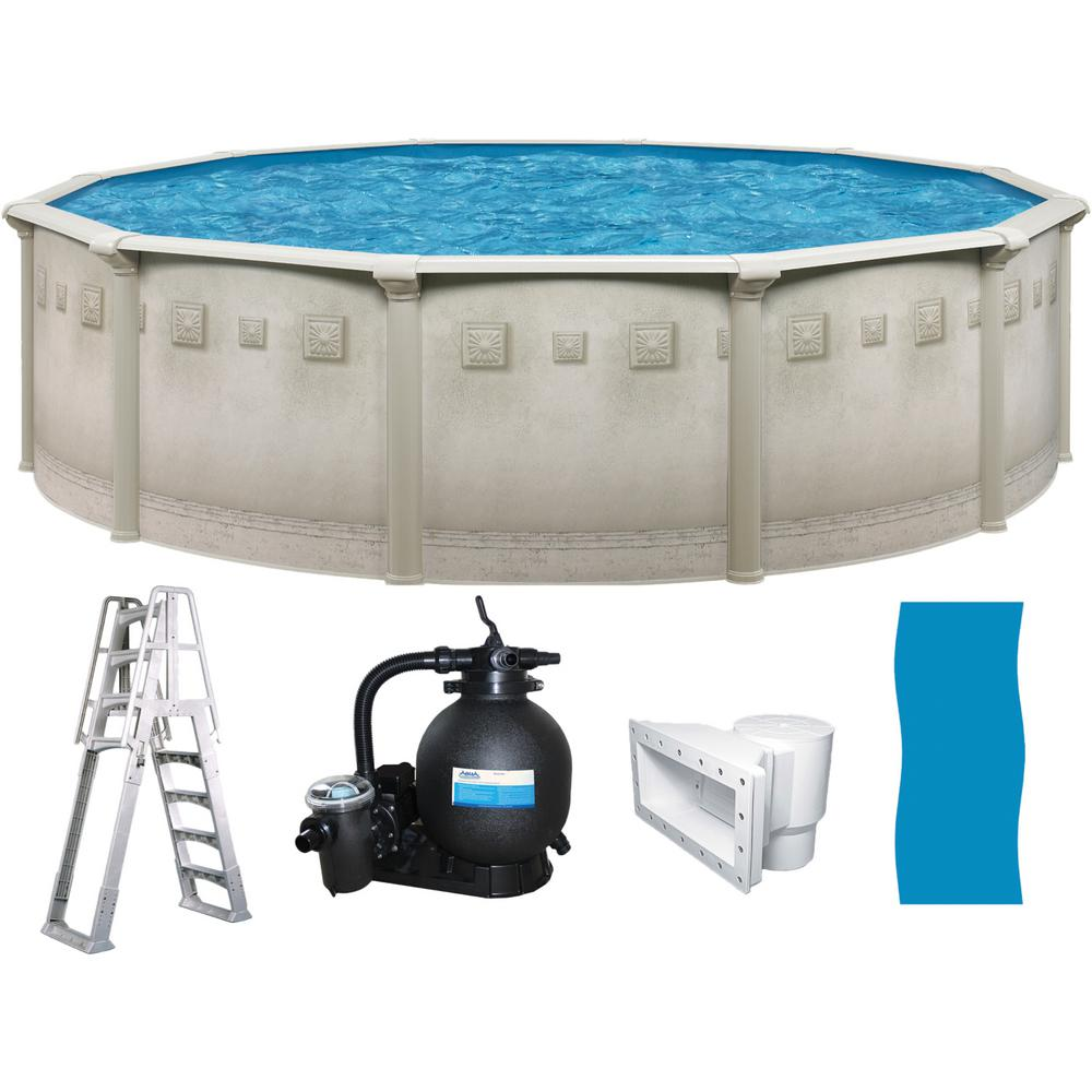 Jacuzzi Pool Top Caps 30 Ft Round X 52 In Deep Hard Sided Above Ground Pool Package With 6 In Top Rail