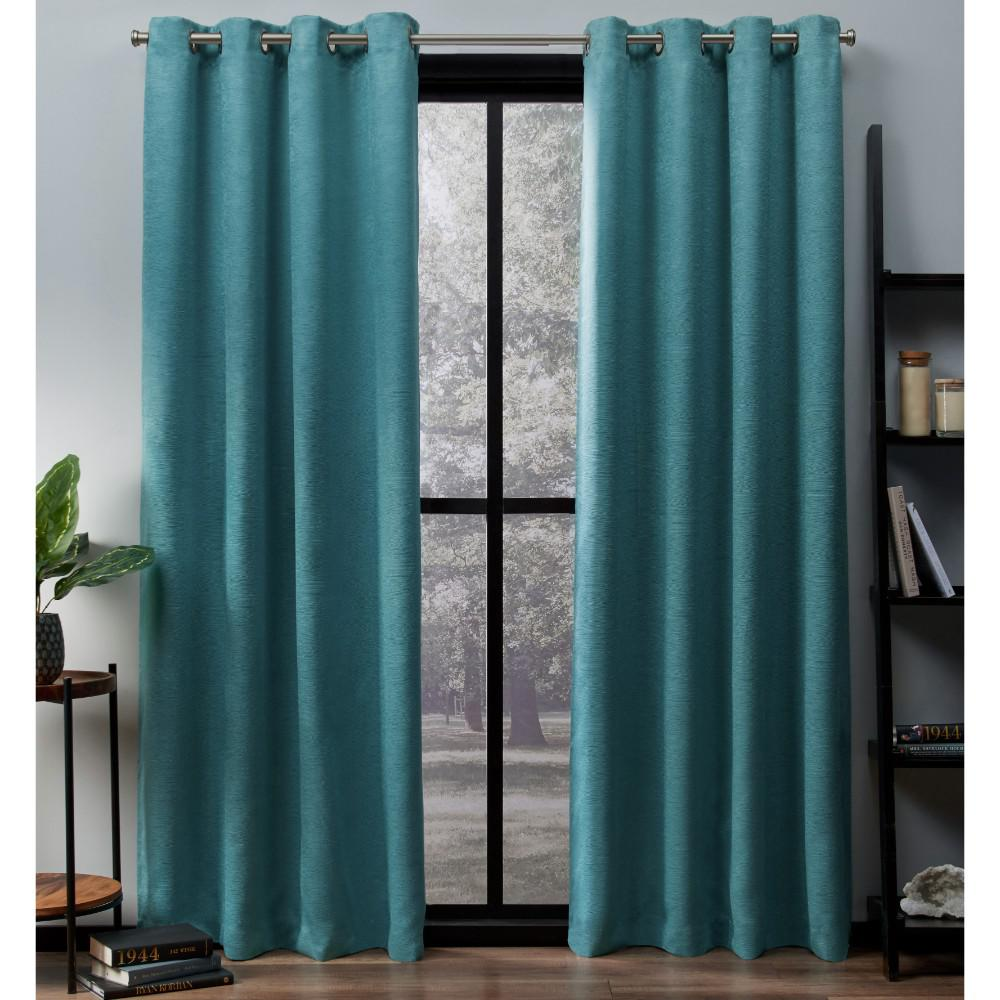 Teal Blackout Curtains Oxford 52 In W X 84 In L Woven Blackout Grommet Top Curtain Panel In Teal 2 Panels