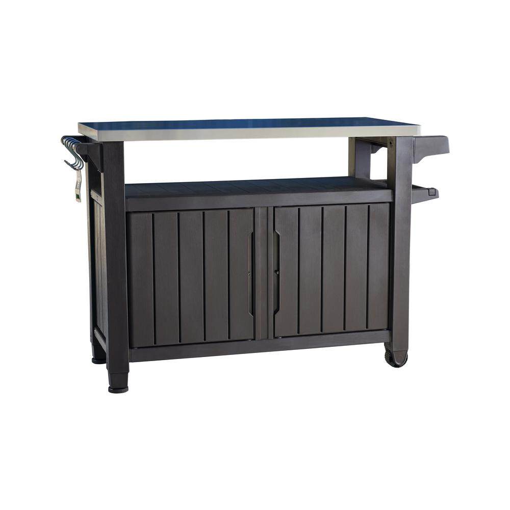 Storage Table On Wheels Keter Unity Xl 78 Gal Grill Serving Prep Station Cart With Patio Storage