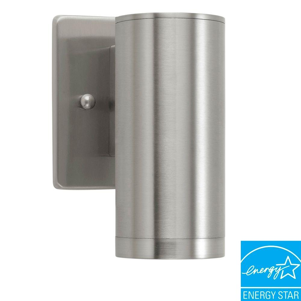 Eglo Riga Led Outdoor Wall Light Eglo Riga 1 Light Stainless Steel Outdoor Wall Mount Cylinder Wall Lantern Sconce