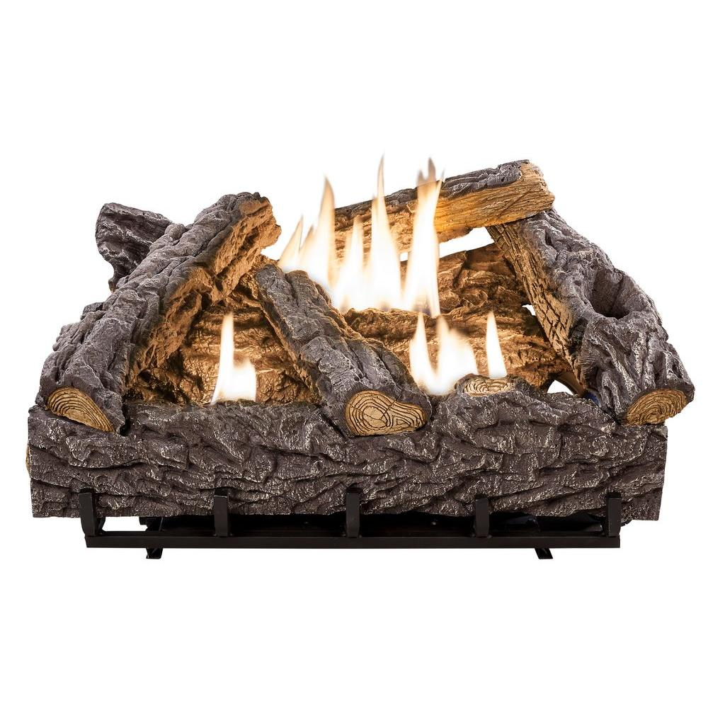 Ceramic Logs For Gas Fireplace 24 In Timber Creek Vent Free Dual Fuel Gas Log Set With Thermostat