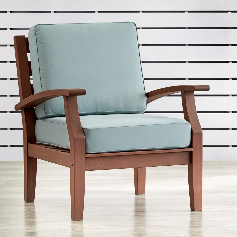 Chairs Comfortable Homesullivan Verdon Gorge Brown Oiled Wood Outdoor Occasional Lounge Chair With Blue Cushion