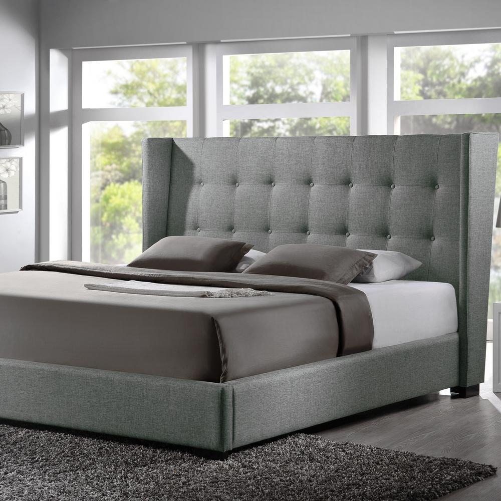 Fabric Bed Frames Favela Transitional Gray Fabric Upholstered Queen Size Bed