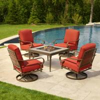 Hampton Bay Oak Cliff 5-Piece Metal Patio Fire Pit ...