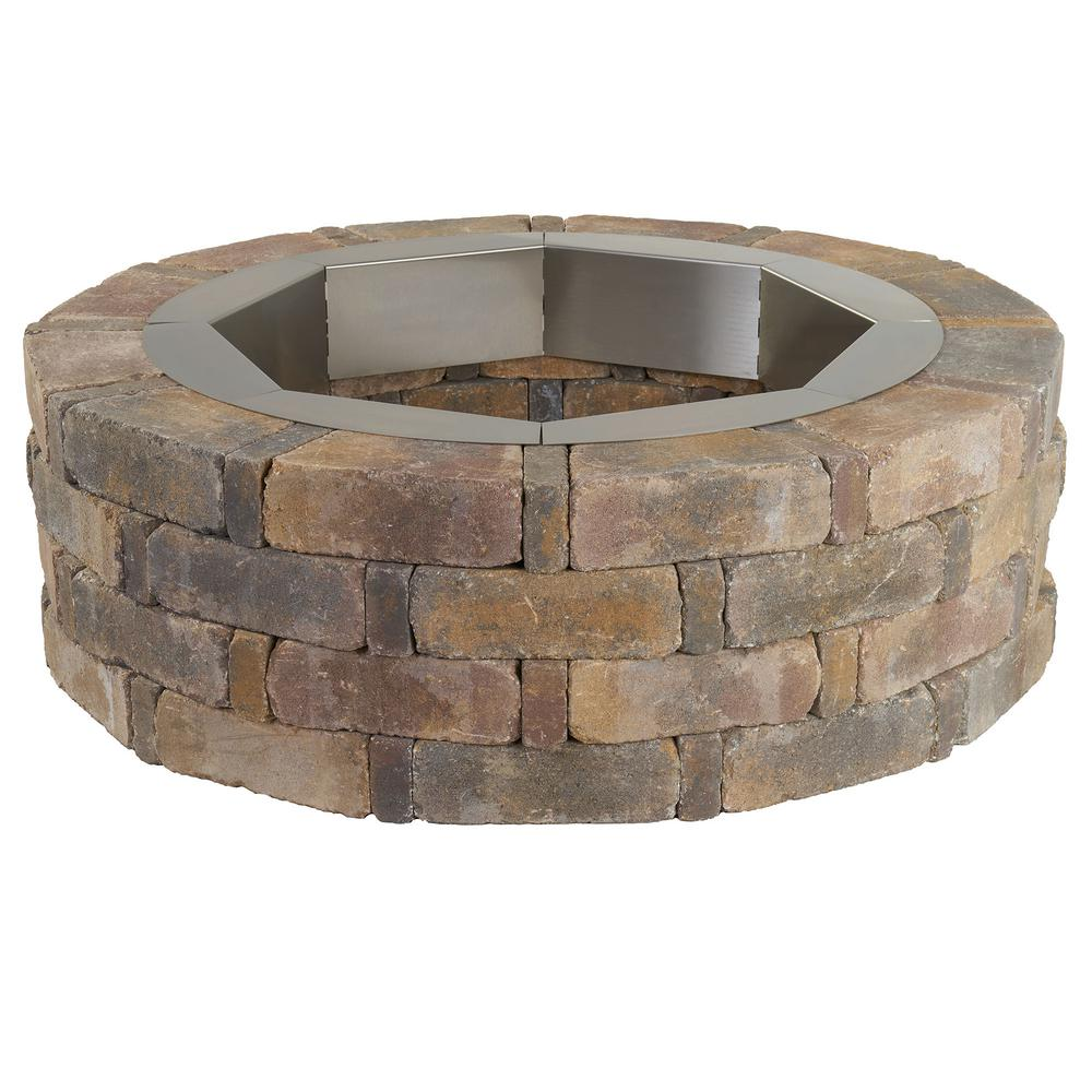 Home Depot Fire Pit Pavestone Rumblestone 46 In X 14 In Round Concrete Fire Pit Kit No 2 In Sierra Blend With Round Steel Insert