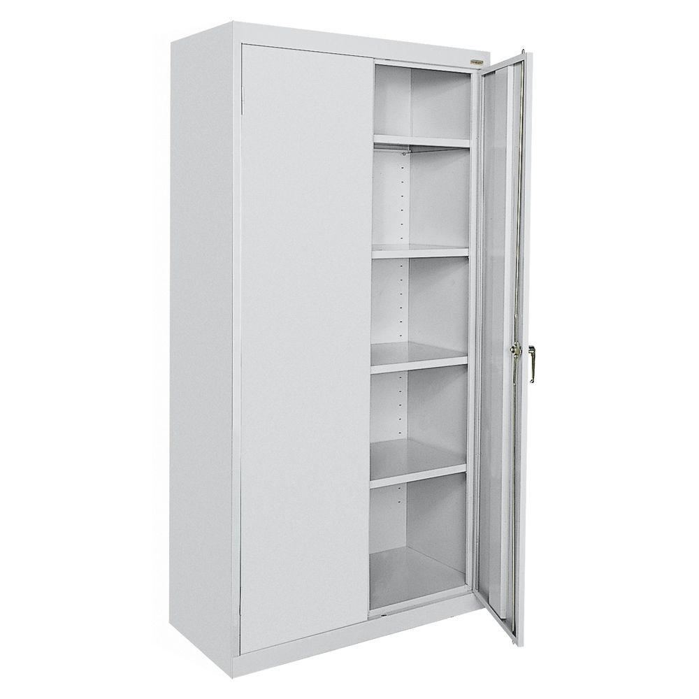 Storage Closet Sandusky Classic Series 72 In H X 36 In W X 18 In D Steel Frestanding Storage Cabinet With Adjustable Shelves In Dove Gray