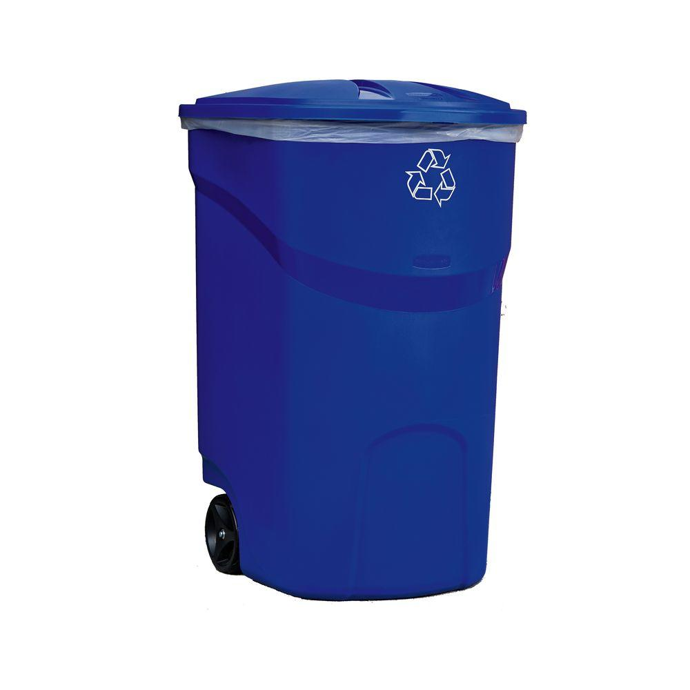 Cool Trash Bins Rubbermaid 45 Gal Roughneck Blue Wheeled Recycling Trash Container