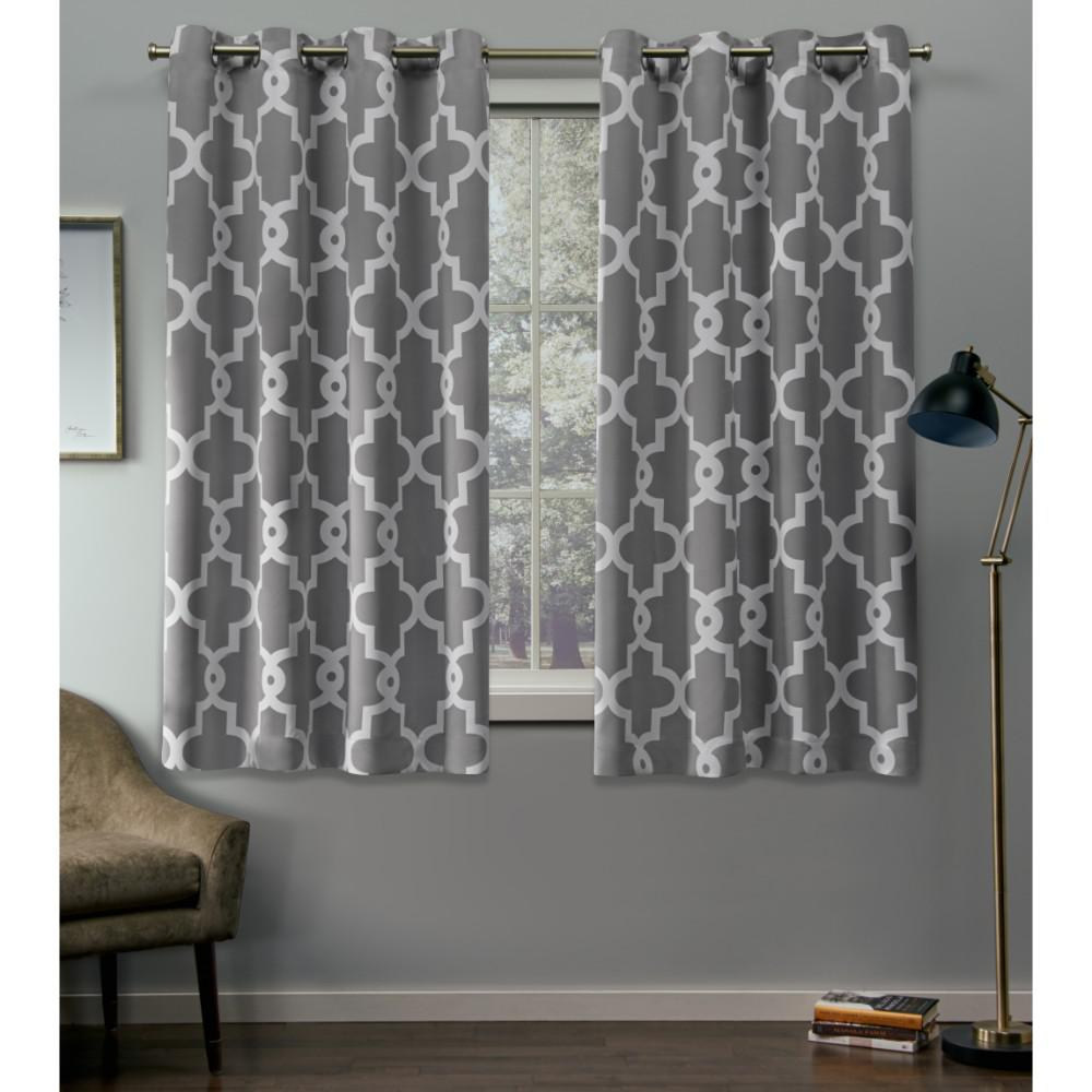 Teal Silver Curtains Exclusive Home Curtains Ironwork 52 In W X 63 In L Woven Blackout Grommet Top Curtain Panel In Silver 2 Panels
