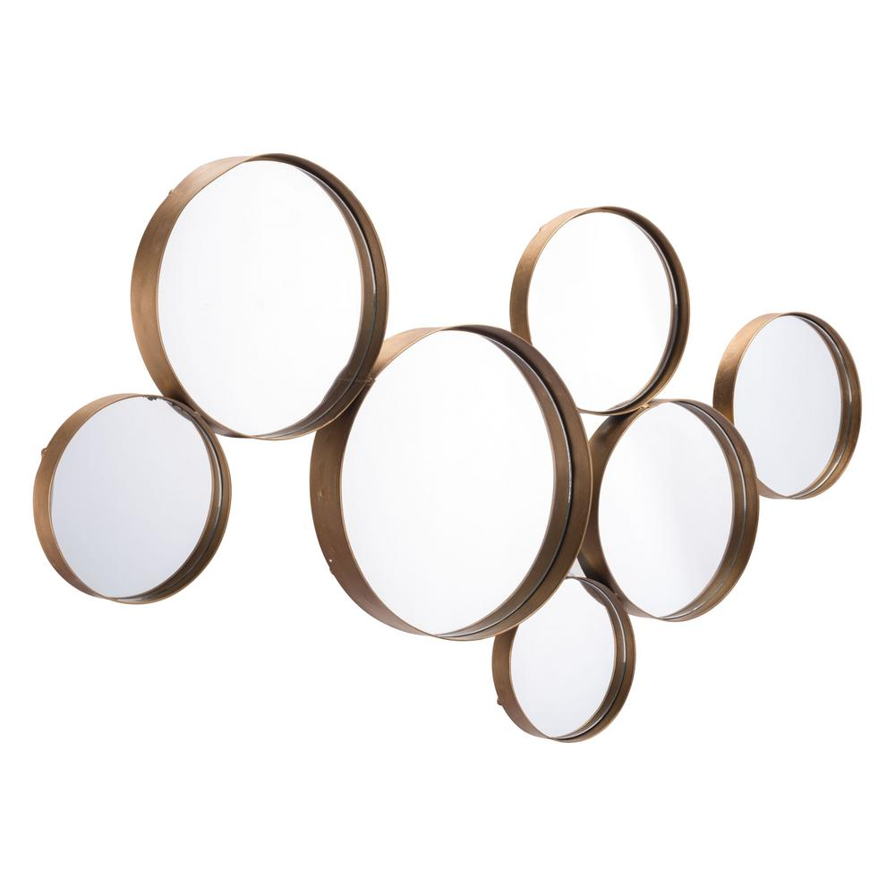 Decorative Mirror Zuo Teo Circular Gold Decorative Mirror