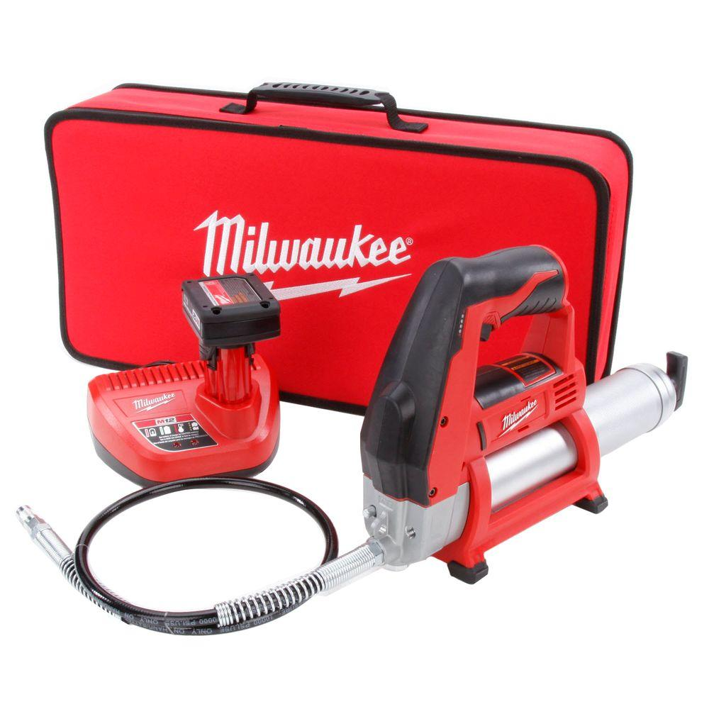 Electric Grease Gun Milwaukee M12 12 Volt Lithium Ion Cordless Grease Gun Kit With One 3 Ah Battery Charger And Tool Bag