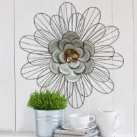 Stratton Home Decor Galvanized Metal Daisy Wall Decor ...