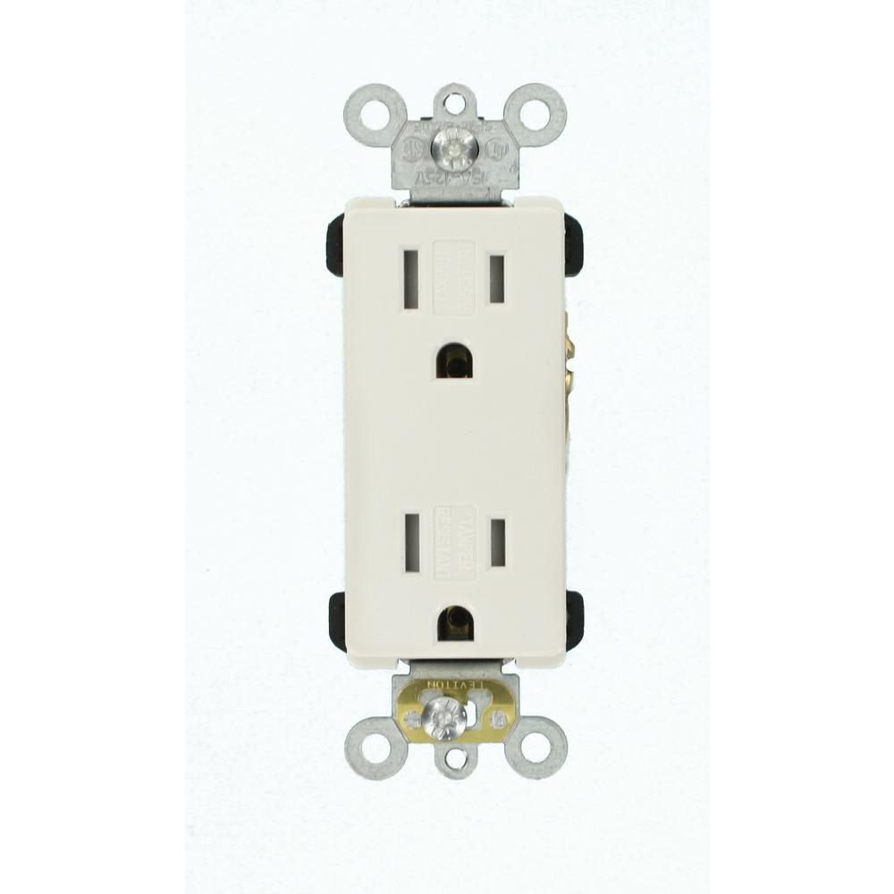 Contemporary Electrical Outlets Leviton Decora Plus 15 Amp Tamper Resistant Self Grounding Duplex Outlet White