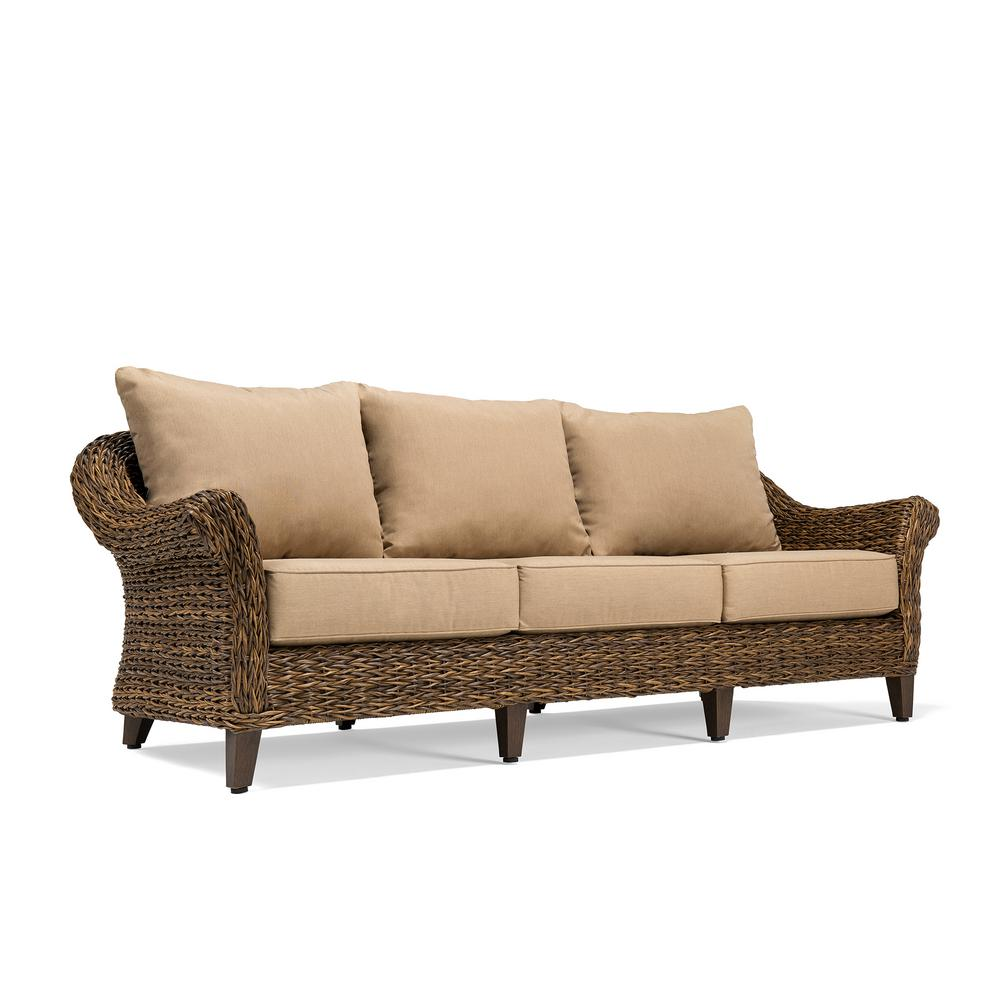 Outdoor Couch Blue Oak Bahamas Wicker Outdoor Sofa With Sunbrella Canvas Heather Beige Cushion