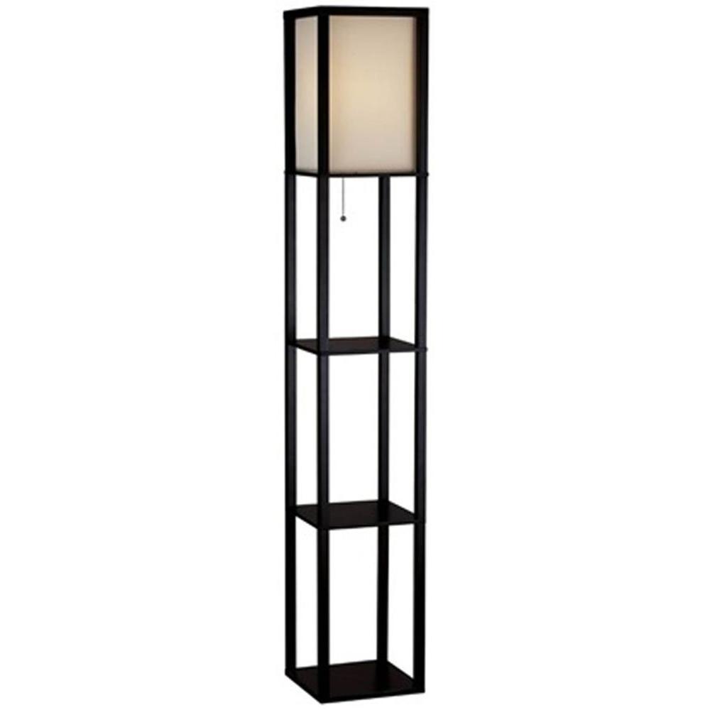 Hampton Bay 62.75 in. Black Shelf Floor Lamp with Ivory