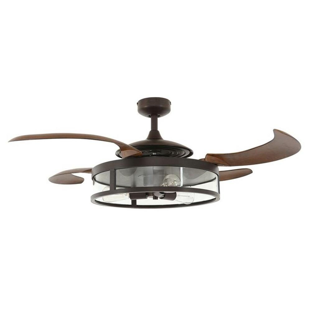 Ceiling Fan With Folding Blades Fanaway Classic 48 In Indoor Antique Black And Smoke Ac Ceiling Fan With Light Kit And Remote Control