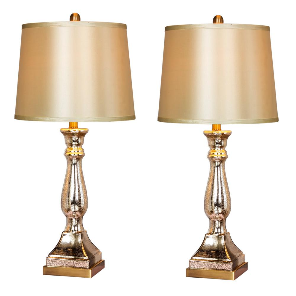 Vintage Table Lamps Fangio Lighting 28 In Vintage Mercury Glass And Antique Brass Candlestick Table Lamps