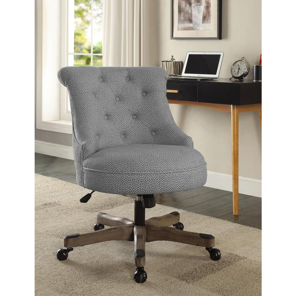 White Desk Chair Wood Sinclair Light Gray And White Dots Upholstered Fabric With Gray Wood Base Office Chair