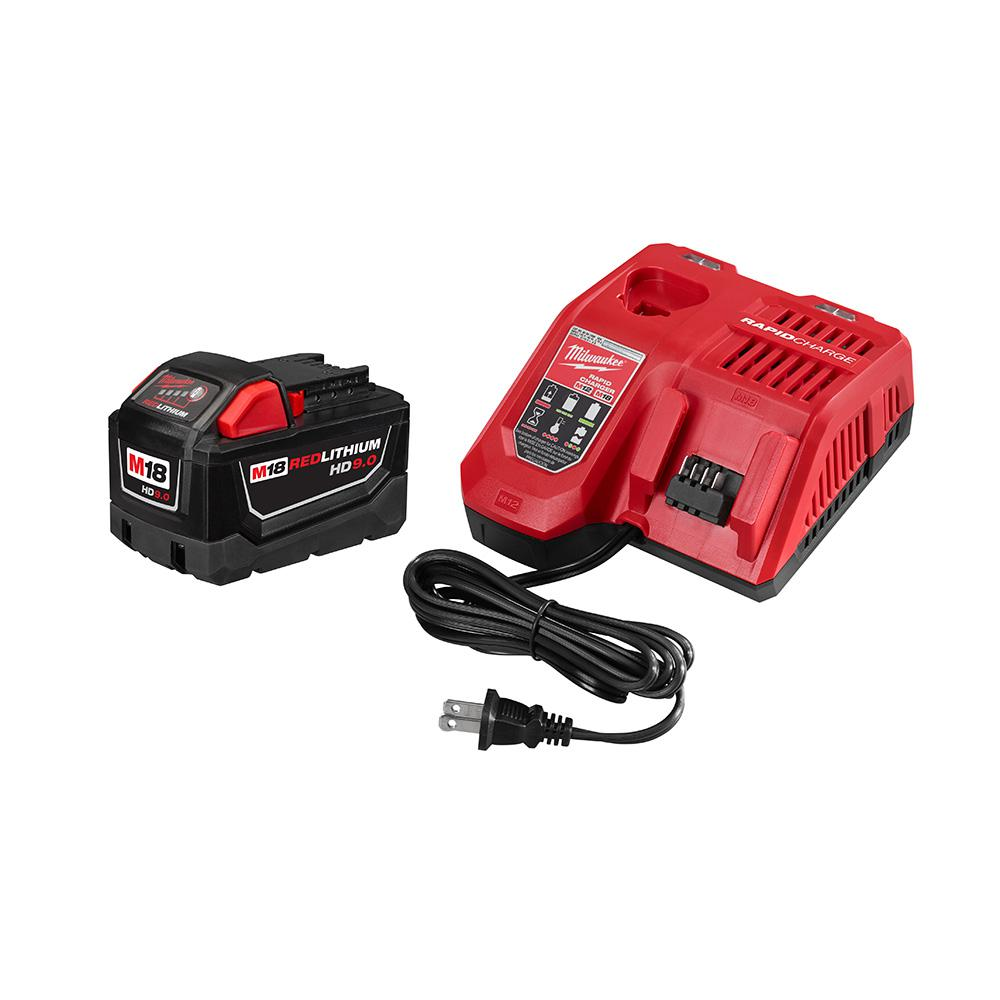 Milwaukee M18 Battery Milwaukee M18 18 Volt Lithium Ion High Demand Battery Pack 9 0ah And Charger Starter Kit