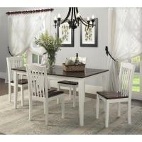 Dorel Shiloh 5-Piece Creamy White / Rustic Mahogany Dining ...