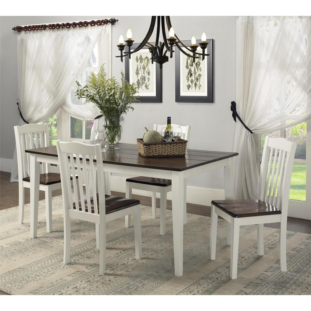 Furniture Stores In Mass Shiloh 5 Piece Creamy White Rustic Mahogany Dining Set