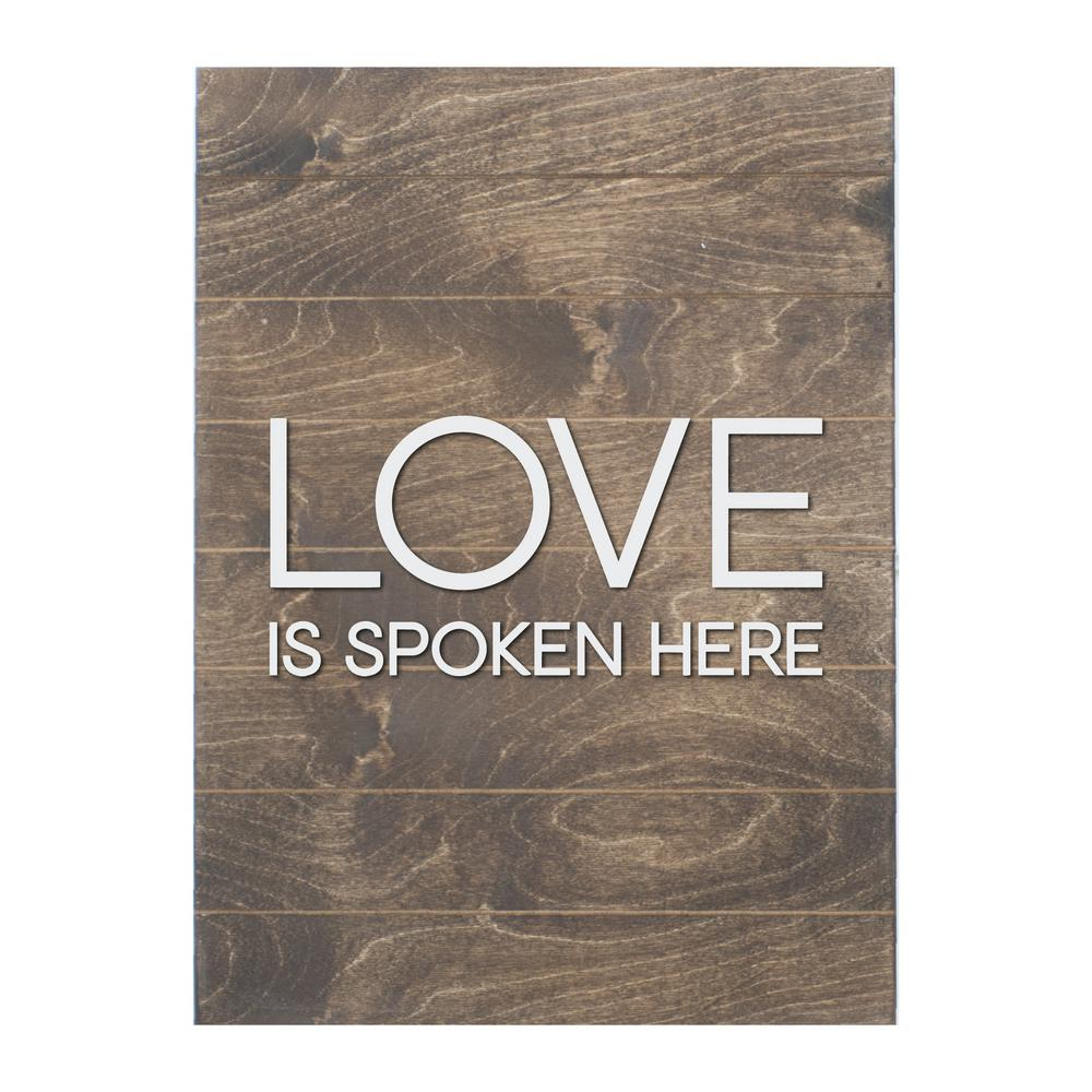 Vertical Wood Slat Wall Petal Lane Love Is Spoken Here Vertical Slat Board Brown White Letters Memo Board