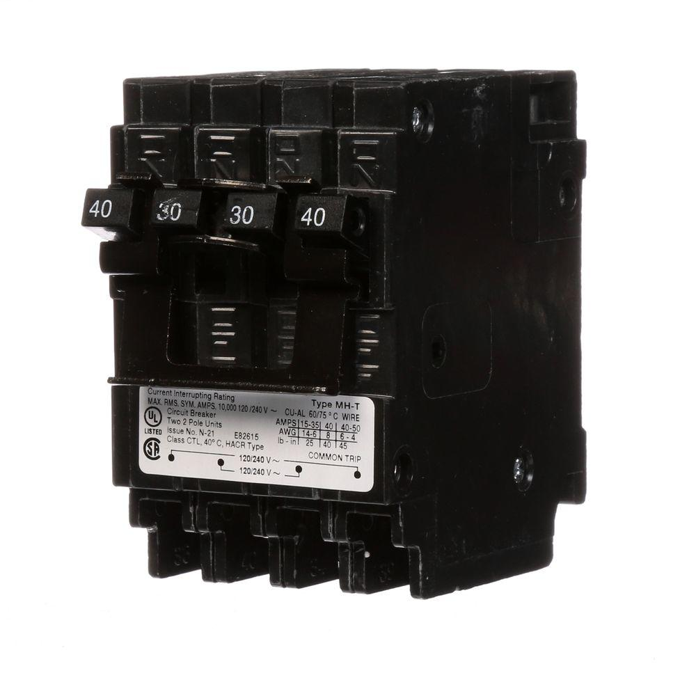 40*50 Murray Quadplex One Outer 40 Amp Double Pole And One Inner 30 Amp Double Pole Circuit Breaker