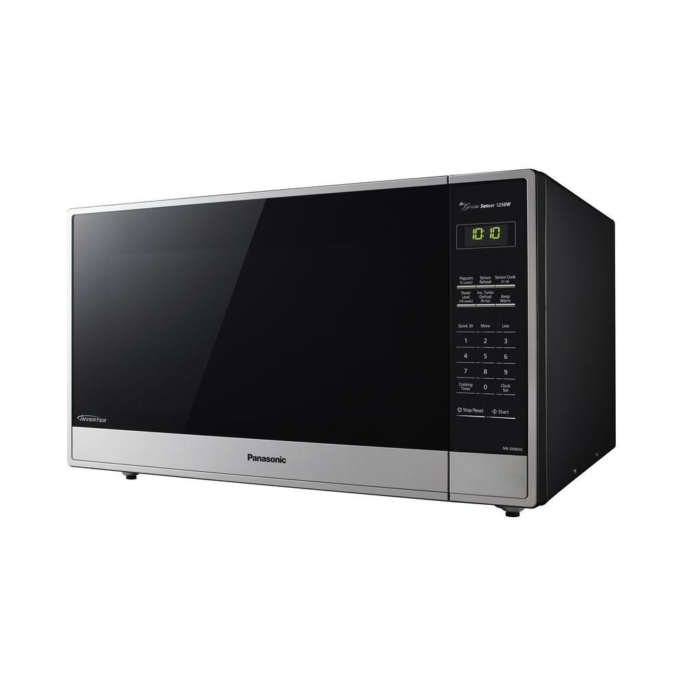 Panasonic 2 2 Cu Ft Countertop Microwave In Stainless Steel With Sensor Cooking Nn Sn965s The Home Depot