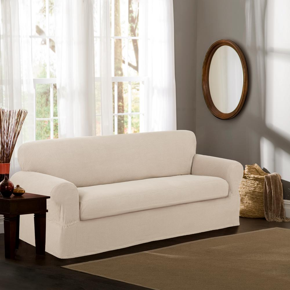 Sofa Slipcovers Maytex Reeves Stretch 2 Piece Natural Sofa Slipcover 4100801jnat