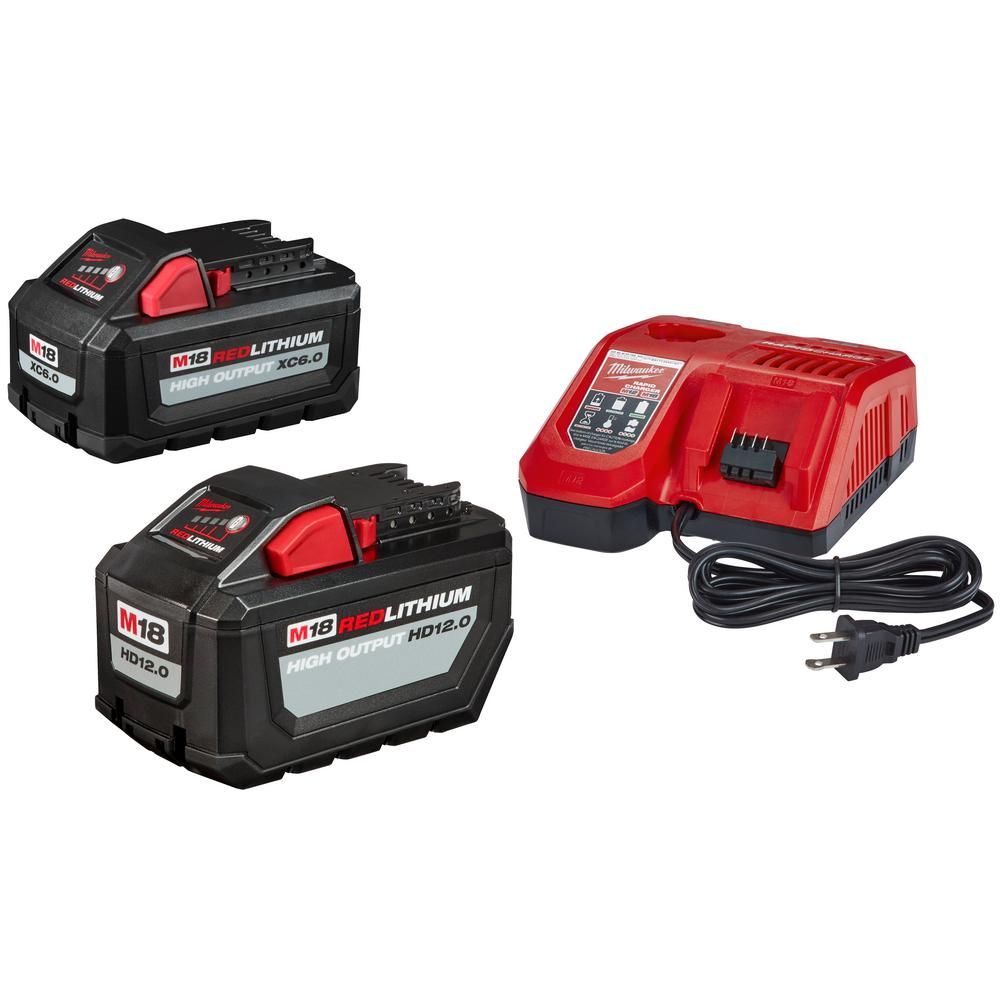 Milwaukee M18 Battery Milwaukee M18 18 Volt Lithium Ion High Output Battery Pack 12 Ah And Rapid Charger Starter Kit With Free 6 Ah Battery