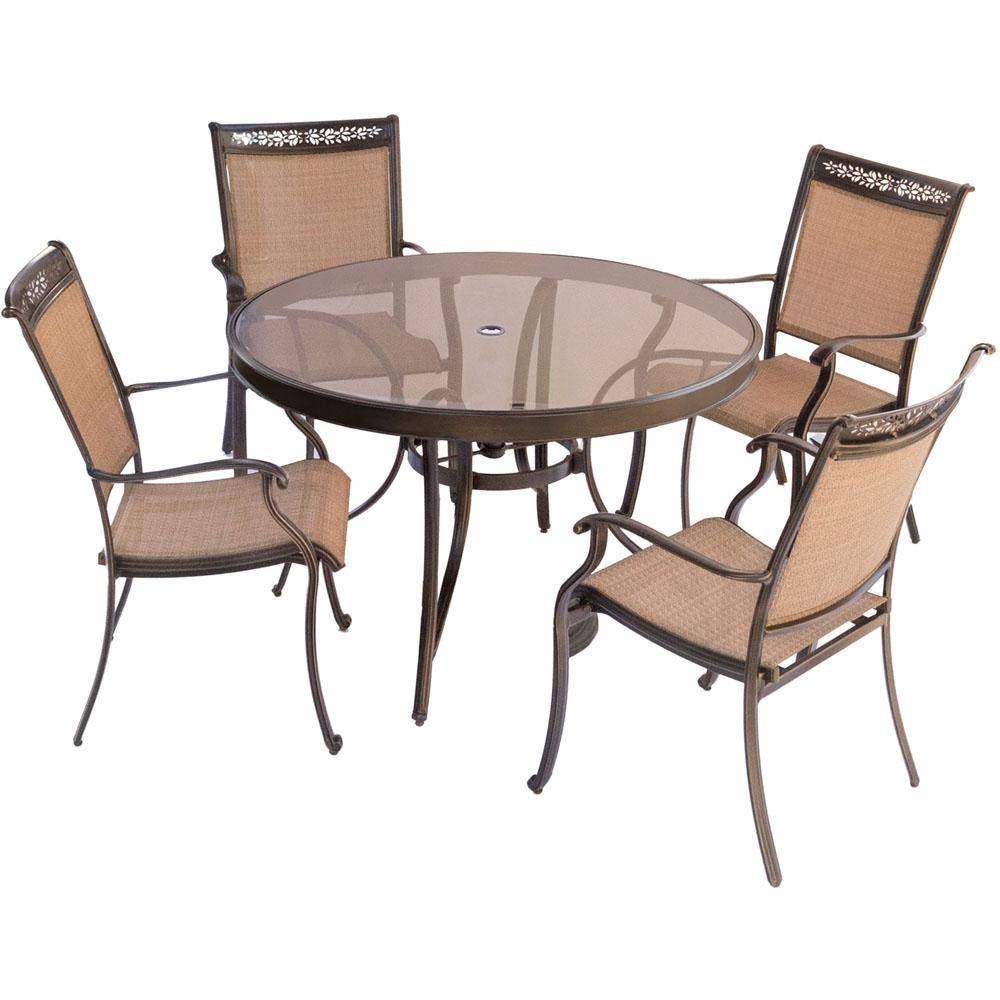 Round Glass Top Dining Table Hanover Fontana 5 Piece Aluminum Round Outdoor Dining Set With Glass Top Table