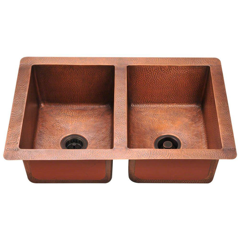 Polaris Sinks Undermount Copper 33 In Double Bowl Kitchen