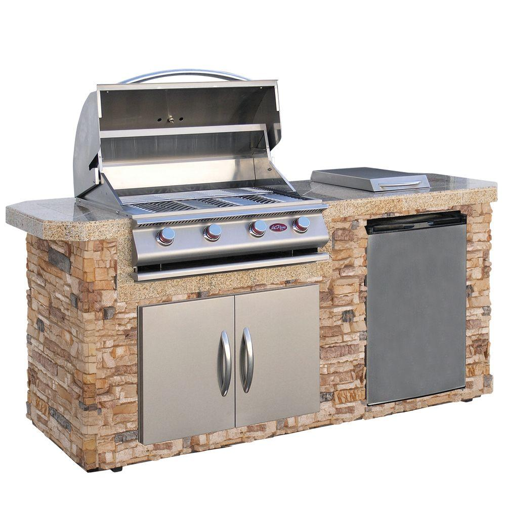 Outdoor Grill Cal Flame 7 Ft Cultured Stone Grill Island With 4 Burner Gas Grill In Stainless Steel