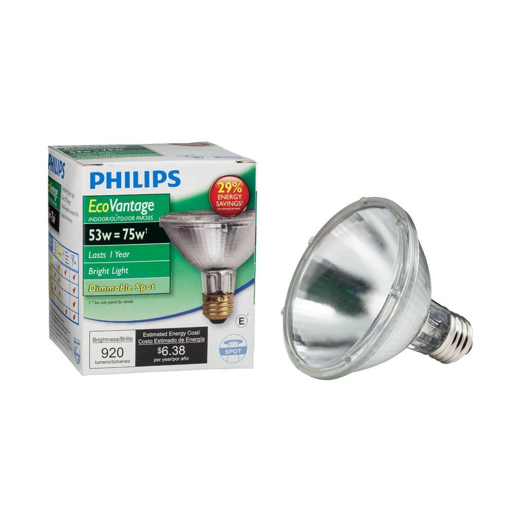 Halogen Spotlight Bulbs Philips 53 Watt Equivalent Halogen Par30s Dimmable Spotlight Bulb