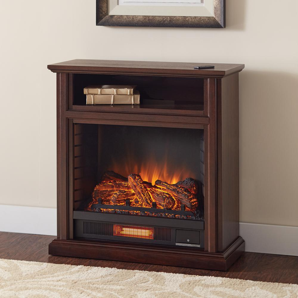 Electric Fireplace.com Ansley 31 In Mobile Media Console Infrared Electric Fireplace Tv Stand In Cherry