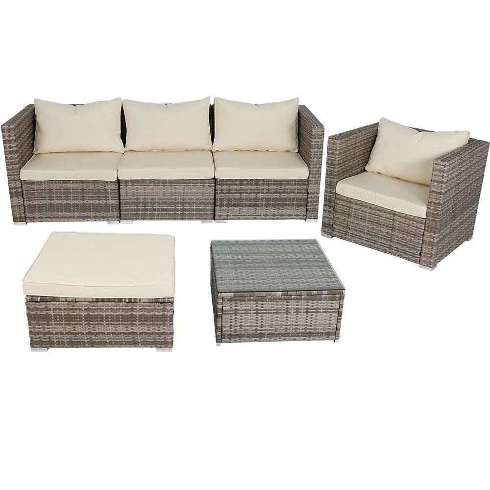 Outdoor Sofa Rattan Sunnydaze Decor Boa Vista 6 Piece Wicker Rattan Outdoor Sofa Patio Furniture Set With Beige Cushions