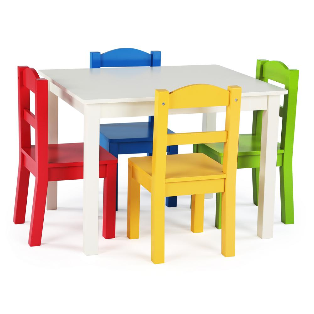Childrens Table And Chair Set Tot Tutors Summit 5 Piece White Primary Kids Table And Chair Set