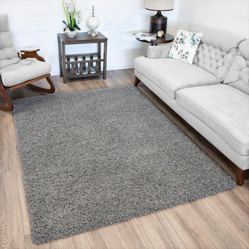 Sha Rug Lifestyle Shaggy Collection Grey 5 Ft X 7 Ft Shag Area Rug