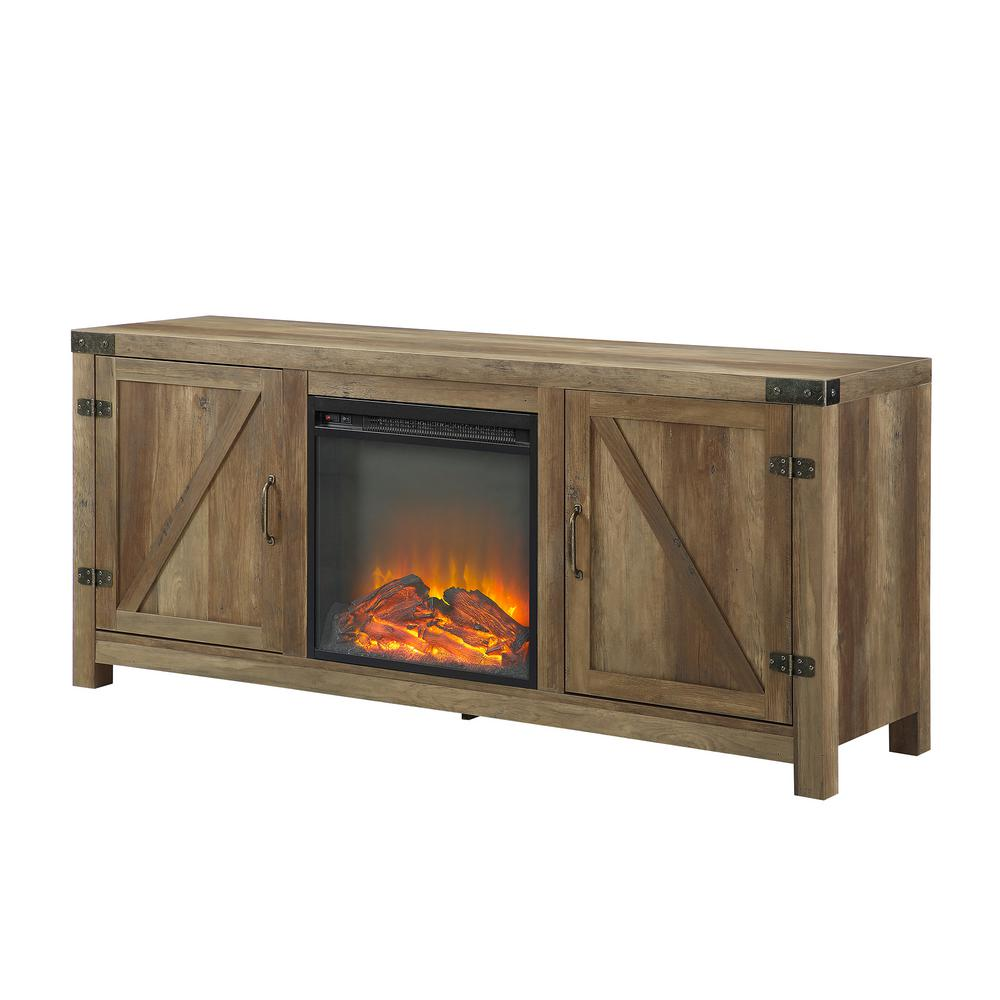 Modern Fireplace Images Walker Edison Furniture Company 58 In Rustic Barnwood Modern Farmhouse Barn Door Fireplace Tv Stand Storage Console