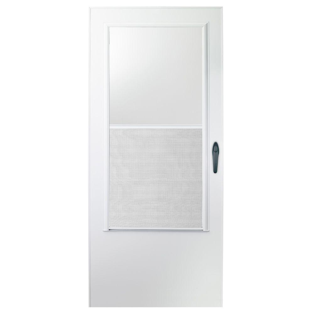 Storm Doors Edmonton 30 In X 80 In 100 Series White Self Storing Storm Door