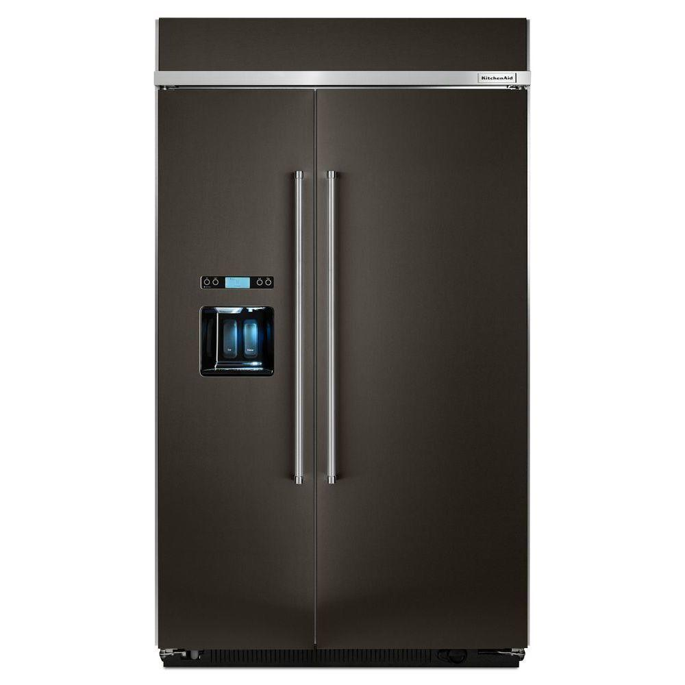 Home Depot Fridges Canada Kitchenaid 29 5 Cu Ft Built In Side By Side Refrigerator In Black Stainless