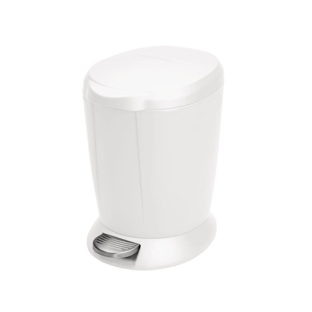 Mini Plastic Trash Can With Lid Simplehuman 6 Liter White Plastic Round Step On Trash Can